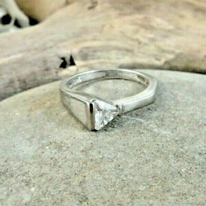 Triangular White CZ Asymmetrical 925 Sterling Silver Ring Size 6.75  #164