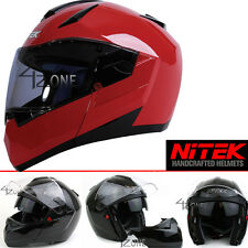 NiTEK Diamond N260 Solid Glossy Red Color DOT ECE Modular Helmet X-Large
