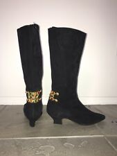 Black Suede Knee High Boots with Embellishments women's size 6