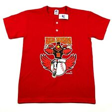 Rochester Red Wings Youth Boys M Red T Tee Shirt Crew Neck 2 Button Henley NWT