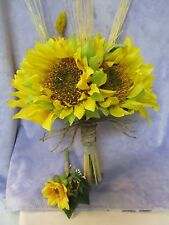 USA Sunflower Rustic silk flower Bridal Bouquet boutonniere wedding Jute String