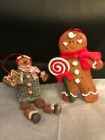 Gingerbread Man and Ice Cream Sandwich Man Christmas Ornament Set-Mint