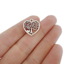 10 x Tibetan Silver Tone Heart Love Tree Charms Pendants Beads 17x18mm
