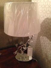 John Lewis TESS GLASS PEBBLES TABLE LAMP Bedside Light Chrome + Shade NEW