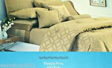 Simply Vera Wang  Full /Queen 3 Piece Duvet Cover Set Gold Circle NWT $299.00