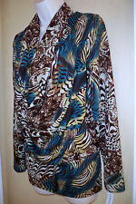 ANNALEE + HOPE Multi color animal print Drape Cowl Neck Blouse tunic top W M NWT