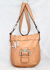 B. MAKOWSKY Tan Leather Zip Buckle Crossbody Bag Nickel Hardware