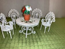 White Wicker Look Doll House Furniture Metal Vintage Table with 4 Chairs