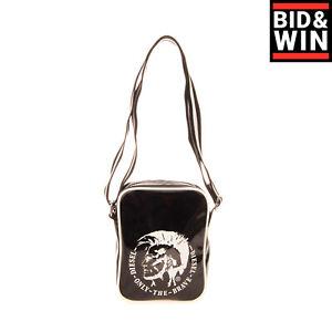 "DIESEL ""SHINY HAPPY DAYS"" SLIM RICHIE Crossbody Bag PU Leather Mohawk Logo Front"