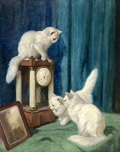 Wonderful oil painting animals three white cats kittens playing & clock mirror