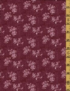 1-2/3 Yard Cotton Quilting Sewing Fabric Classic Cottons Burgundy Floral 1504