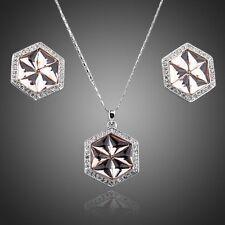 Platinum Plated Vintage Rose Made With Swarovski Crystal Earring Necklace Set