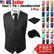3Pcs SET Men's Formal Vest Slim Tie Hankie Causal Fit Tuxedo Suit Waistcoat Coat