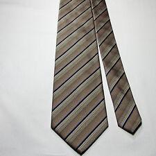 Tie Rack Made in Italy 100% Silk Tie Stripe Navy Blue Taupe Khaki