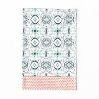 Spoonflower Tea Towel Tiles Navy Blue And White Triangle Geometric Linen Cotton