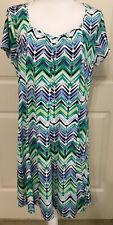 NWT Kim Rogers size PXL green blue white short sleeve slinky flare dress