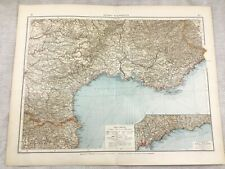 1899 Antique Map of The South of France Monaco Original 19th Century GERMAN
