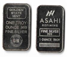 New ListingTwo 1 Oz .999 Fine Silver Bullion Bars-Asahi and Golden State Mint