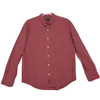 Abercrombie Shirt Mens Size L Large Red Check Long Sleeve Button Front Cotton