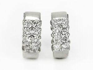 1.0tcw Woman's Natural Diamond Dangle Hoop Earrings Solid White Gold 14K