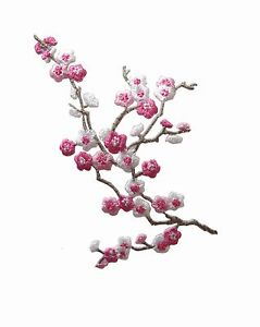 #5036 Pink White Quince Sakura Flower Embroidery Iron On Applique Patch -Left