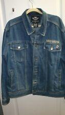 Mens HARLEY DAVIDSON Blue Denim Embroidered Jacket XL EUC