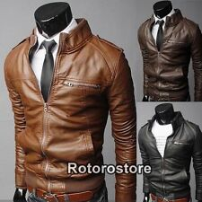 Unbranded Faux Leather Collared Coats & Jackets for Men