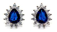 Sterling Silver Blue Sapphire And Diamond 2.98ct Stud Earrings (925)