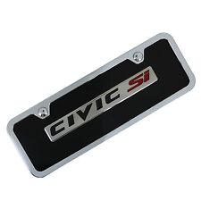 Honda Civic Si Name Badge Logo On Mini Black License Plate + Frame