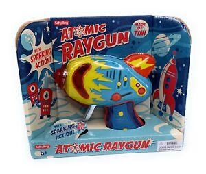 ATOMIC Ray Gun Friction Sparking Tin Litho Blaster Laser Ray Gun Blue New