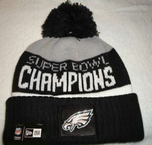 Eagles 2017 Super Bowl LII Champions New Era Cuffed Knit Black & Grey POM Hat