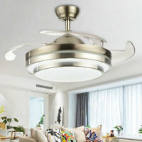 "42"" 36""Dimmable Ceiling Fan Light Chandelier with LED Retractable Blades +Remote"