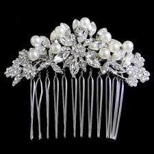 Bridal Bridesmaid Pearl Flower Hair Comb Accessories Austrian Crystal Silver GP