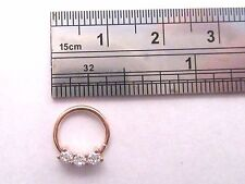 Rose Gold Triple Clear CZ Crystal Cartilage Daith Seamless Hoop 18 gauge 18g