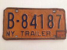 Old NY State License Plate Blue On Orange