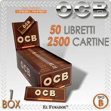 2500 CARTINE OCB VIRGIN BROWN CORTE Box 50 Libretti - NON SBIANCATE SENZA CLORO