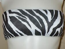 NEW ZEBRA BANDEAU BRALETTE BRA LAYER CROP TUBE TOP URBAN ROCKABILLY PUNK SMALL