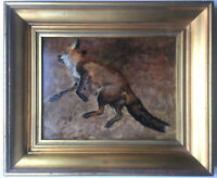 19thC French Impressionism Oil painting Study of a Fox