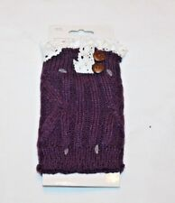 Women's Purple with White Lace Boot Cuffs  One Size