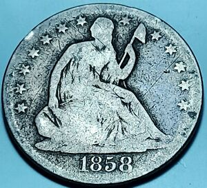1858 Seated Liberty Half Dollar Silver ---- Nice Condition Type Coin  ---- #B55