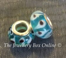 Evil Eye Greek Mati Blue White Glass Silver 925 European Bead Charm Jewelry