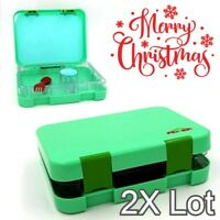 2x Aohea Bento Box for Lunch or Snack Microwavable Buckle Lock & Sealed - Green