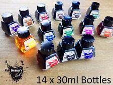 All Fourteen colours Van Dieman's Fountain Pen Ink in 14 x 30ml bottles