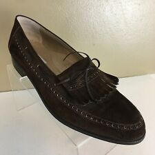 8b20b453654 Mens BALLY Dark Brown Suede Leather Slip on Loafer Shoes Kiltie 12 M Italy