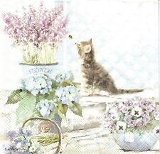 2 Serviettes papier Chat Chaton Fleurs Decoupage Paper Napkins Kitten