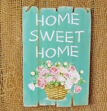 Rustic Green Wooden Plaque Home Sweet Home Country Garden Flower Basket Sign
