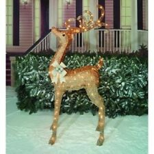 "60"" Lighted Shimmering Champagne Buck Outdoor Christmas Decor"