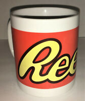 REESE Logo Ceramic Coffee Mug 8 Ounce Orange Yellow Reeses Peanut Butter Cup
