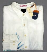 NWT $148 Tommy Bahama Long Sleeve White Shirt Mens 100% Linen Big Tall