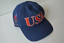 Vintage 1996 USA Altanta Olympic Games Blue Baseball Cap Hat Adjustable Starter